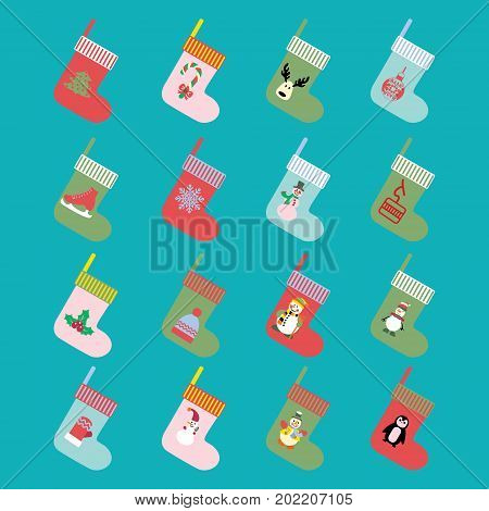 Vector Christmas and winter holiday modern icons set in flat design made of christmas socks.