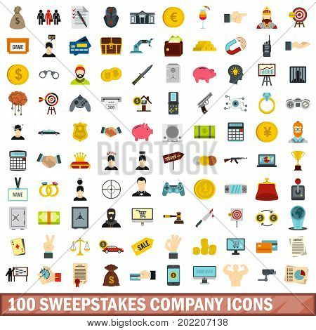 100 sweepstakes company icons set in flat style for any design vector illustration