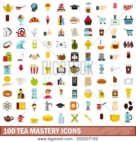 100 tea mastery icons set in flat style for any design vector illustration