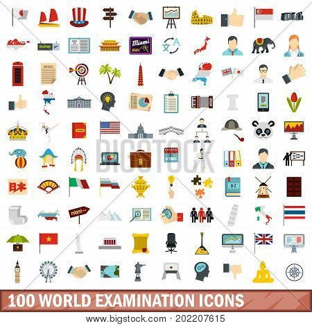 100 world examination icons set in flat style for any design vector illustration
