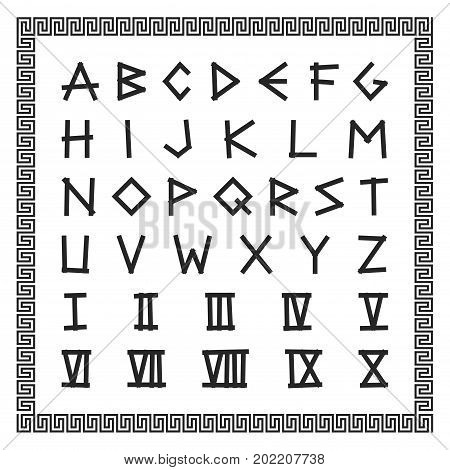 Greek font. Vector english alphabet. Ancient latin letters with roman numerals.