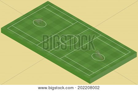 Isometric lacrosse field isolated image in vector