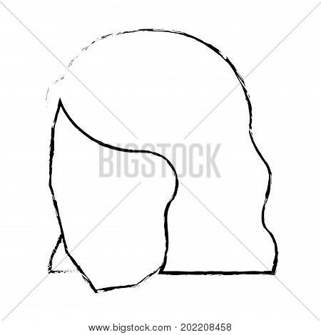woman head faceless monochrome and blurred with short hairstyle vector illustration