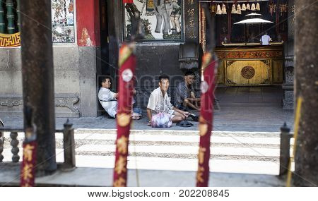 Ho Chi Minh City, Vietnam - March 26, 2017:Interior of Ong Bon Pagoda, dedicated to Ong Bon, the guardian who presides over happiness and wealth, in Cholon, the Chinatown area of Saigon