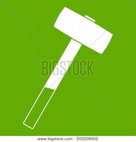 Sledgehammer icon white isolated on green background. Vector illustration