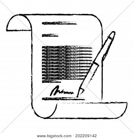 monochrome blurred continuously sheet contract document firm and pen vector illustration