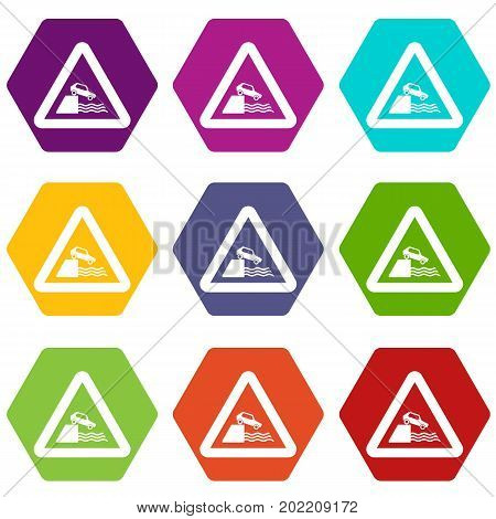 Riverbank traffic sign icon set many color hexahedron isolated on white vector illustration