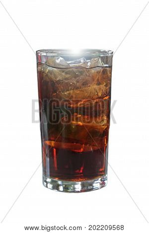 Cola and ice in glass with sparkling white light on top of the glass makes to feel refreshed.