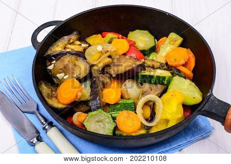 Vegetarian vegetable ragout in pan. Studio Photo