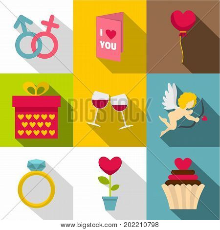 Saint Valentine icon set. Flat style set of 9 Saint Valentine vector icons for web design
