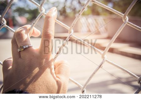 The hands of the restricted area. Inside the iron wire walls to prevent or trap immunity. Fear and loneliness