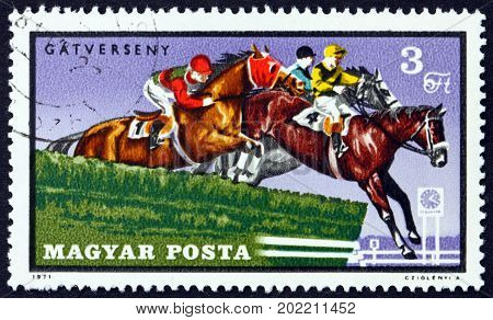 HUNGARY - CIRCA 1971: a stamp printed in Hungary shows Steeplechase Equestrian Sport circa 1971