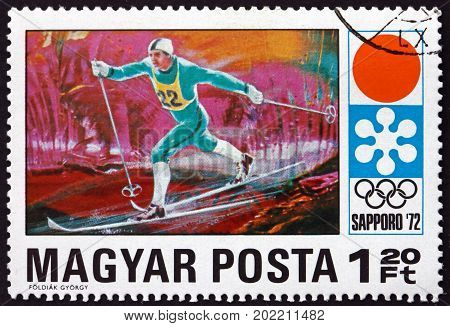 HUNGARY - CIRCA 1971: a stamp printed in Hungary shows Long-distance Skiing 11th Winter Olympic Games Sapporo circa 1971