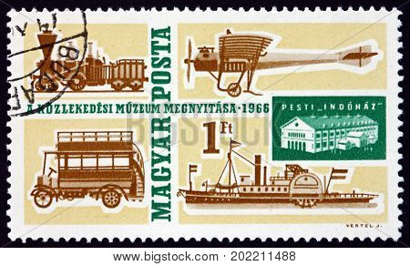 HUNGARY - CIRCA 1966: a stamp printed in Hungary shows Transportation Museum of Transport Budapest circa 1966