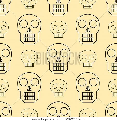 Seamless pattern style skulls faces vector illustration halloween horror style tattoo anatomy art. Cartoon decoration gothic human skeleton symbol. Graphic sketch spooky vintage sign.