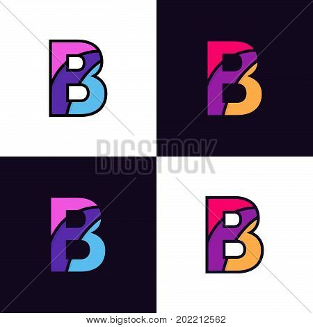 Clean Colorful Letter B Logo Icon Sign Flat Design.
