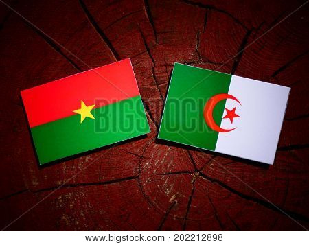 Burkina Faso Flag With Algerian Flag On A Tree Stump Isolated