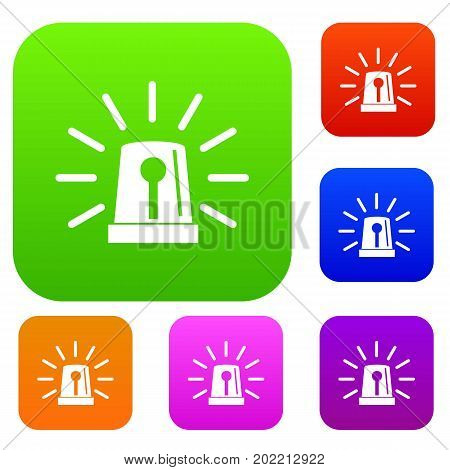 Flashing emergency light set icon in different colors isolated vector illustration. Premium collection