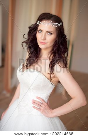 Portrait of a beautiful woman with makeup and elegant hairstyle with diadem.