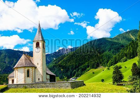 Trentino Alto Adige mountain church postcard San Vito Braies Italy