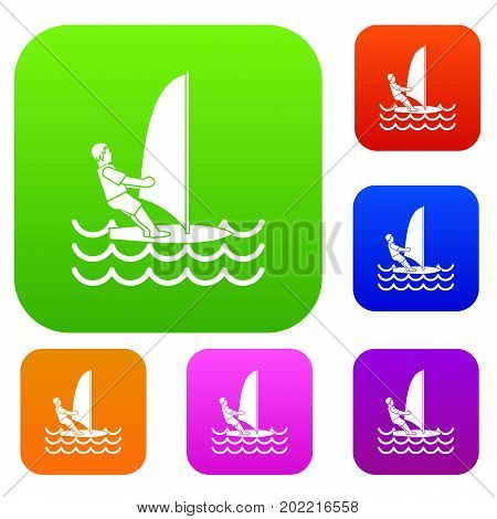 Man on windsurf set icon in different colors isolated vector illustration. Premium collection