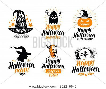 Happy Halloween, lettering. Holiday, greeting card label or logo. Vector illustration isolated on white background
