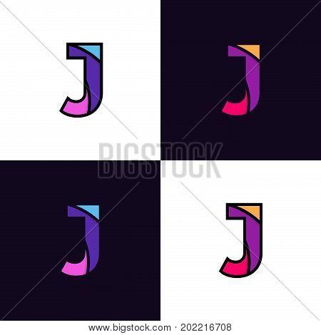Clean Colorful Letter J Logo Icon Sign Flat Design.