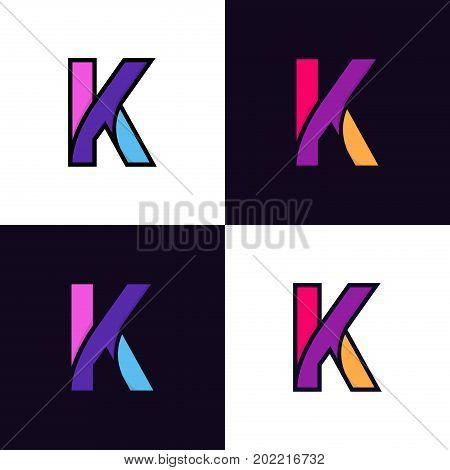 Clean Colorful Letter K Logo Icon Sign Flat Design.