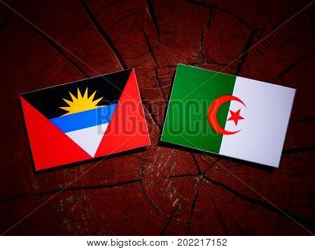Antigua And Barbuda Flag With Algerian Flag On A Tree Stump Isolated