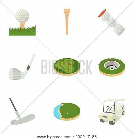 Golf accessory icons set. Cartoon set of 9 golf accessory vector icons for web isolated on white background