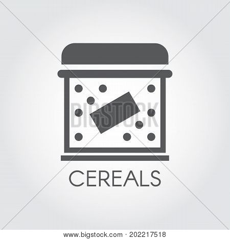 Flat icon of box for storing cereals, dry breakfast, cornflakes and other bulk products. Kitchenware labels. Cookery simplicity pictograph. Vector illustration