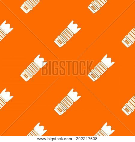 Interchangeable lens for camera pattern repeat seamless in orange color for any design. Vector geometric illustration