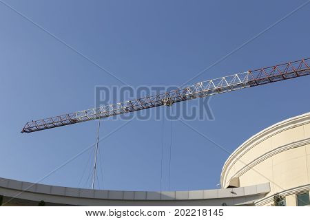 Tower crane on blue sky nature background