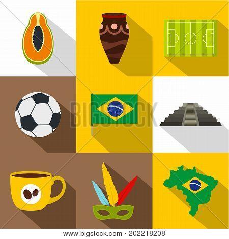 Landmarks of Brazil icon set. Flat style set of 9 landmarks of Brazil vector icons for web design