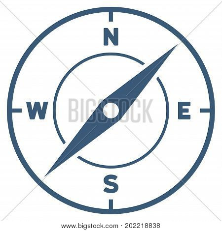 Compass vector icon. Flat blue symbol. Pictogram is isolated on a white background. Designed for web and software interfaces.