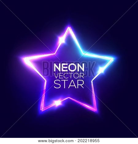 Abstract Neon Star. Electric Frame. Night Club Sign. 3d Retro Light Starry Signboard With Shining Neon Effect. Techno Glowing Frame On Dark Blue Backdrop. Colorful Vector Illustration in 80s Style.