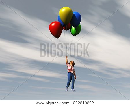 3d illustration of a boy flying with balloons