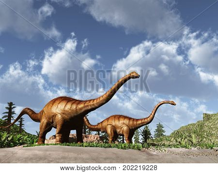 3d illustration of two big dinosaurs Diplodocus