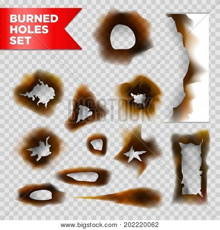 Burnt holes and scorched burned paper isolated on transparent background. Vector isolated half charred or fire burnt texture paper shred elements of different shapes