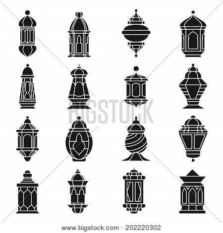 Ramadan lamp set. Late night light decoration for holy month, traditional fanoos picture in black, Vector line art illustration isolated on white background