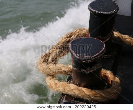 Rope To Moor The Ship To The Harbor