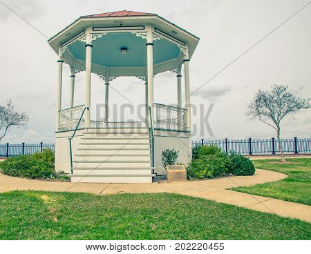 Band shell in a park overlooking the Mississippi river