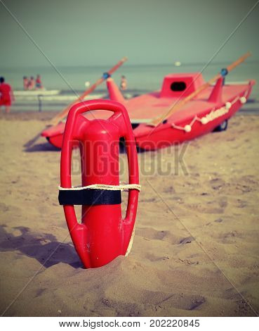 Lifebuoy Lifter And Lifeboat On The Beach