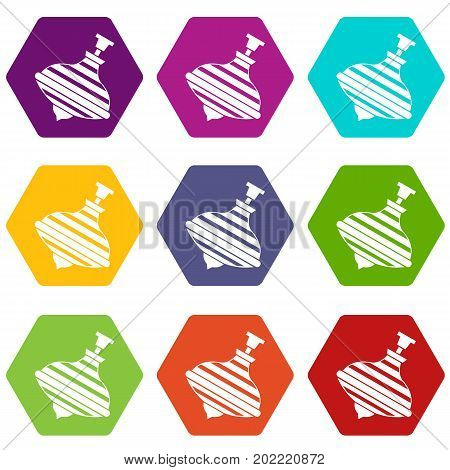 Carousel humming top icon set many color hexahedron isolated on white vector illustration