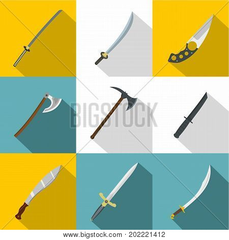 Bladed weapon icon set. Flat style set of 9 bladed weapon vector icons for web design