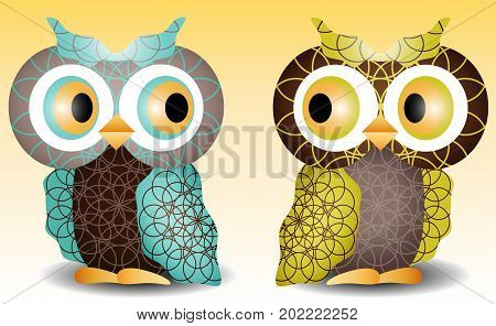 A Pair Of Owls With An Intricate Pattern On The Wings And Body, Volume, Glass Eyes. Blue, Brown, Gre