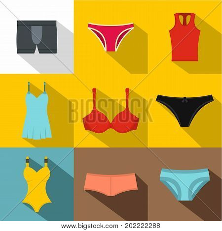 Underclothes icon set. Flat style set of 9 underclothes vector icons for web design