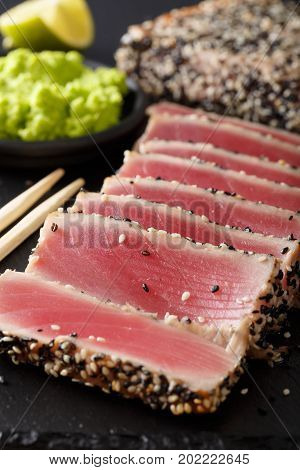 Seared Ahi Tuna Coated Sesame Seeds With Wasabi Macro. Vertical