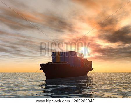 3d illustration of a cargo ship at sunrise