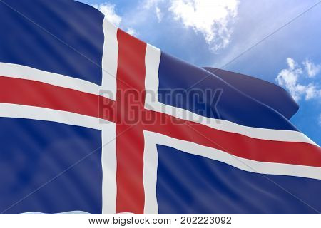 3D Rendering Of Iceland Flag Waving On Blue Sky Background